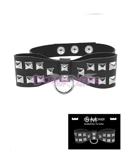 Studded Bow Tie Collar, S&M